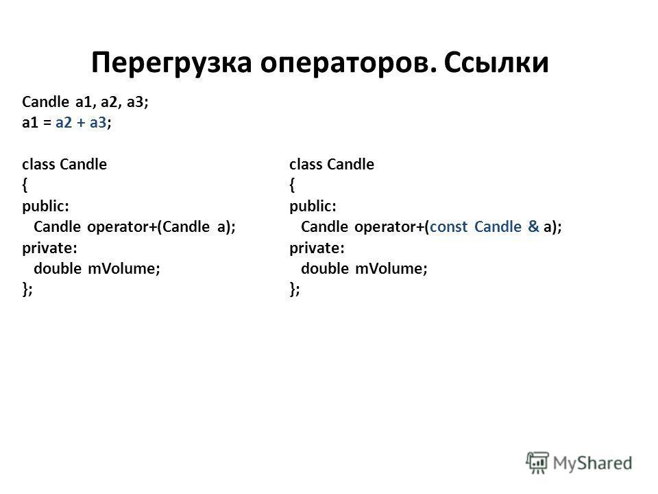 Перегрузка операторов. Ссылки Candle a1, a2, a3; a1 = a2 + a3; class Candle { public: Candle operator+(Candle a); private: double mVolume; }; class Candle { public: Candle operator+(const Candle & a); private: double mVolume; };