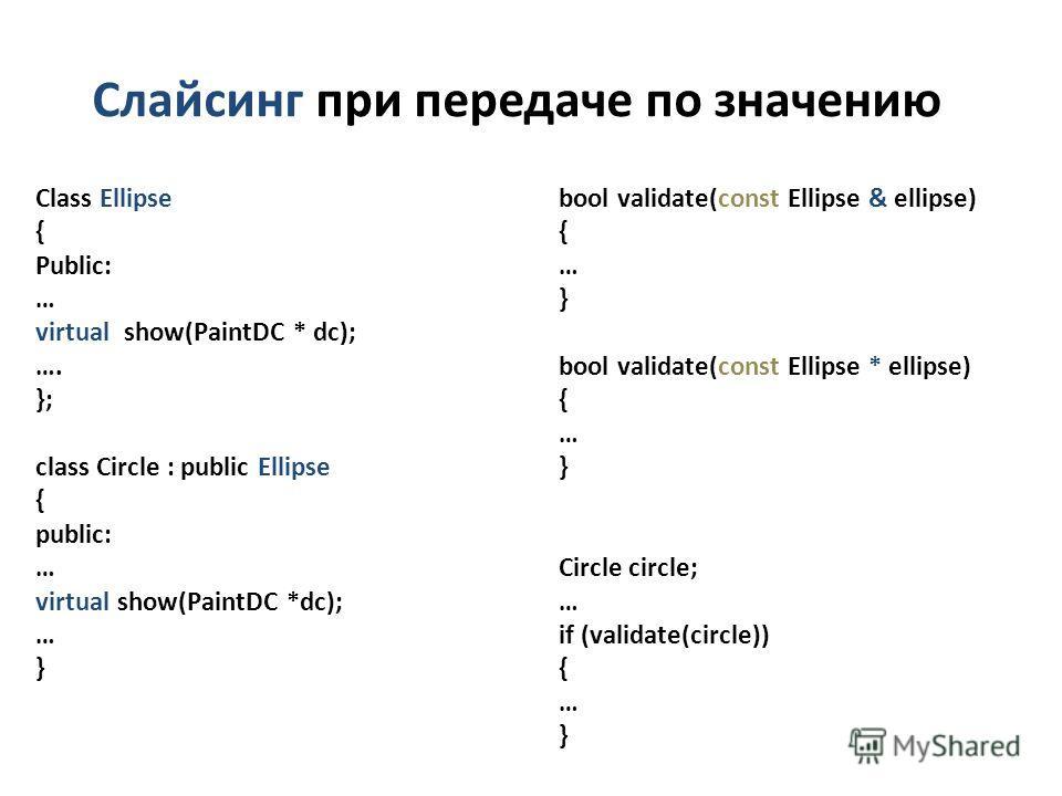 Слайсинг при передаче по значению Class Ellipse { Public: … virtual show(PaintDC * dc); …. }; class Circle : public Ellipse { public: … virtual show(PaintDC *dc); … } bool validate(const Ellipse & ellipse) { … } bool validate(const Ellipse * ellipse)