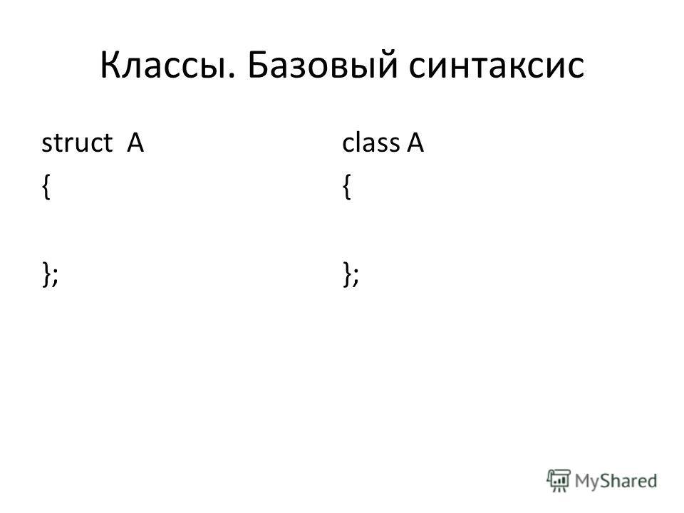 Классы. Базовый синтаксис struct A { }; class A { };