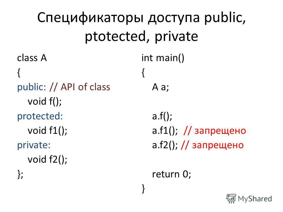 Спецификаторы доступа public, ptotected, private class A { public: // API of class void f(); protected: void f1(); private: void f2(); }; int main() { A a; a.f(); a.f1(); // запрещено a.f2(); // запрещено return 0; }