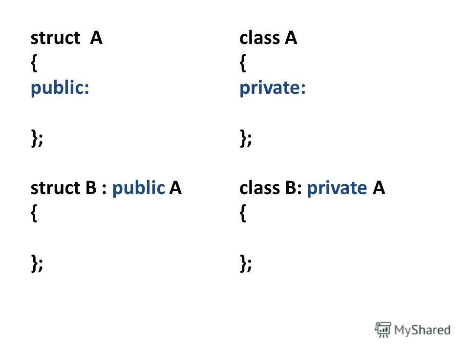 struct A { public: }; struct B : public A { }; class A { private: }; class B: private A { };