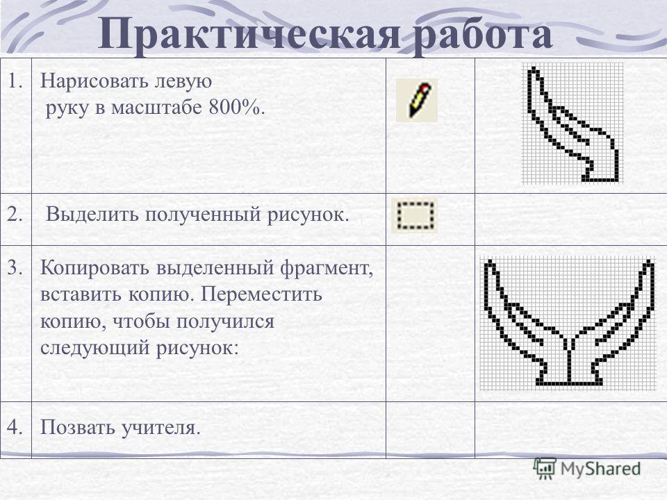 1.Нарисовать левую руку в масштабе 800%. 2. Выделить полученный рисунок. 3.Копировать выделенный фрагмент, вставить копию. Переместить копию, чтобы получился следующий рисунок: 4. Позвать учителя. Практическая работа
