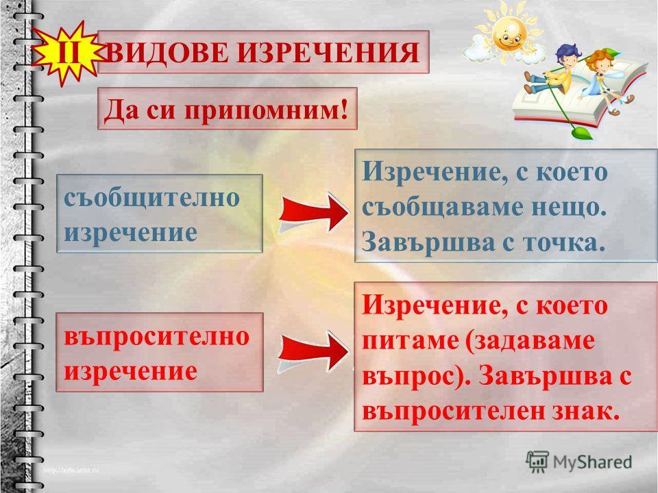 ВИДОВЕ ИЗРЕЧЕНИЯ II Да си припомним! Изречение, с което съобщаваме нещо. Завършва с точка. съобщително изречение въпросително изречение Изречение, с което питаме ( задаваме въпрос ). Завършва с въпросителен знак.