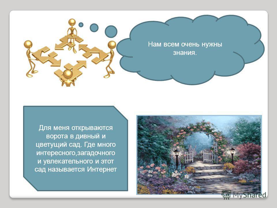 Нам всем очень нужны знания. Для меня открываются ворота в дивный и цветущий сад. Где много интересного,загадочного и увлекательного и этот сад называется Интернет