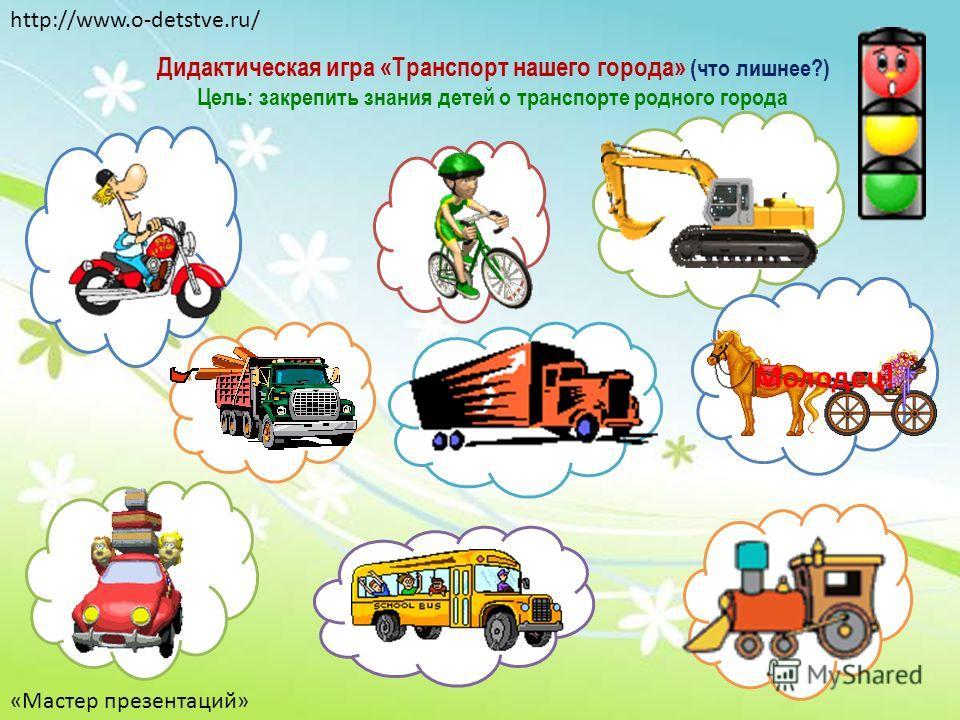 Дидактическая игра «Транспорт нашего города» (что лишнее?) Цель: закрепить знания детей о транспорте родного города Молодец! http://www.o-detstve.ru/ «Мастер презентаций»