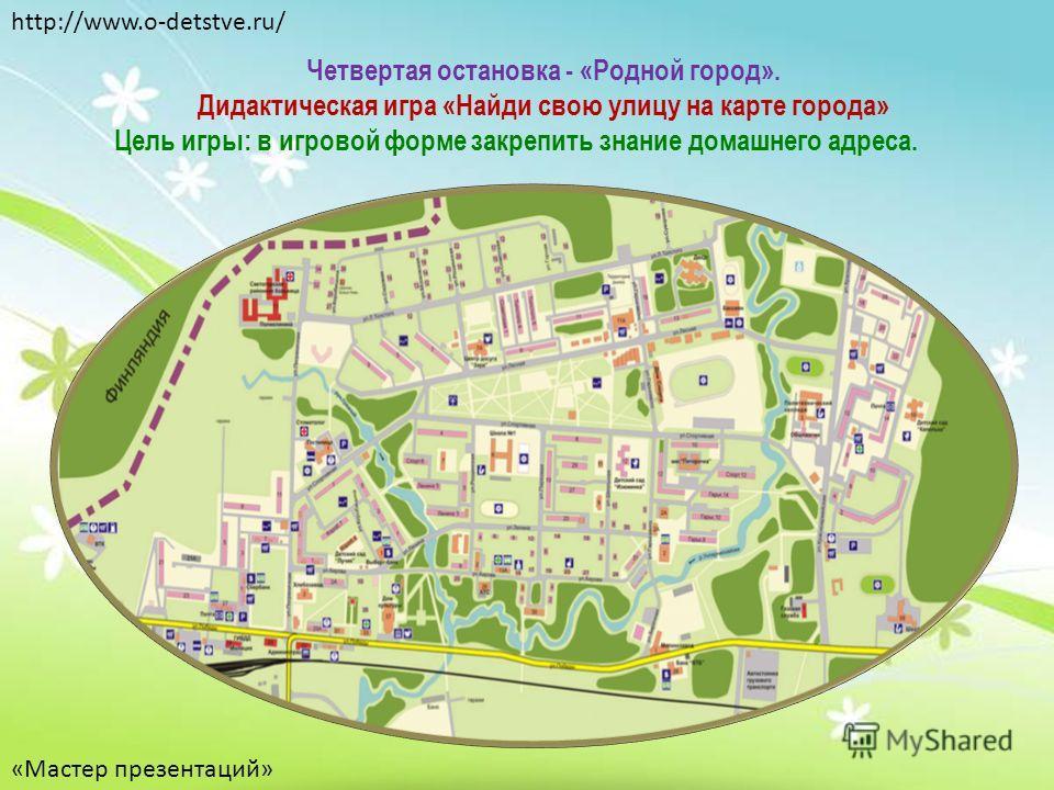 Четвертая остановка - «Родной город». Дидактическая игра «Найди свою улицу на карте города» Цель игры: в игровой форме закрепить знание домашнего адреса. http://www.o-detstve.ru/ «Мастер презентаций»
