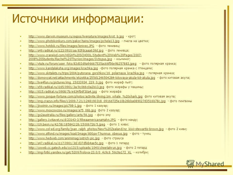 Источники информации: http://www.darwin.museum.ru/expos/livenature/images/krot_b.jpg - крот;http://www.darwin.museum.ru/expos/livenature/images/krot_b.jpg http://www.photokonkurs.com/pakor/tains/images/pchela13.jpg - пчела на цветке;http://www.photok