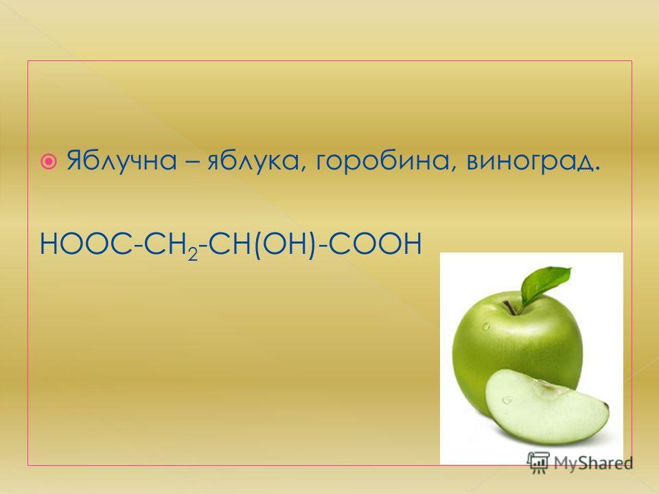 Яблучна – яблука, горобина, виноград. HOOC-CH 2 -CH(OH)-COOH