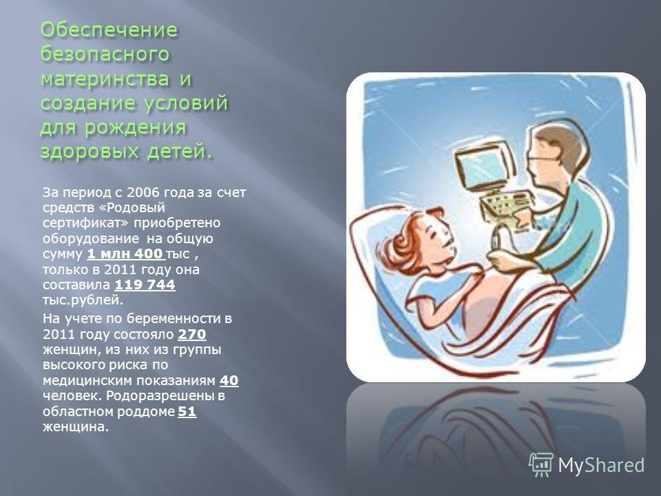 Обеспечение безопасного материнства и создание условий для рождения здоровых детей. За период с 2006 года за счет средств «Родовый сертификат» приобретено оборудование на общую сумму 1 млн 400 тыс, только в 2011 году она составила 119 744 тыс.рублей.