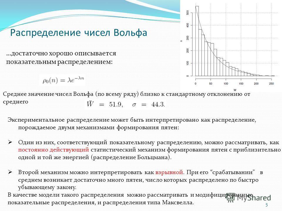 Распределение чисел Вольфа 5 Экспериментальное распределение может быть интерпретировано как распределение, порождаемое двумя механизмами формирования пятен: Один из них, соответствующий показательному распределению, можно рассматривать, как постоянн