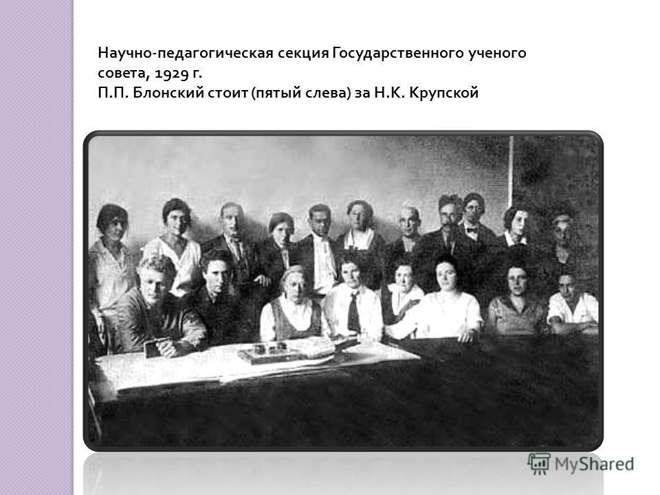 Научно-педагогическая секция Государственного ученого совета, 1929 г. П.П. Блонский стоит (пятый слева) за Н.К. Крупской
