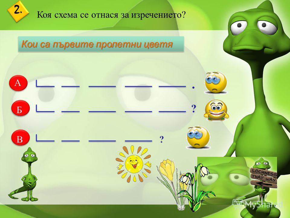 2. Коя схема се отнася за изречението? А Б В Кои са първите пролетни цветя. ? ?