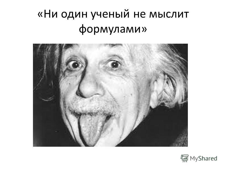 «Ни один ученый не мыслит формулами»