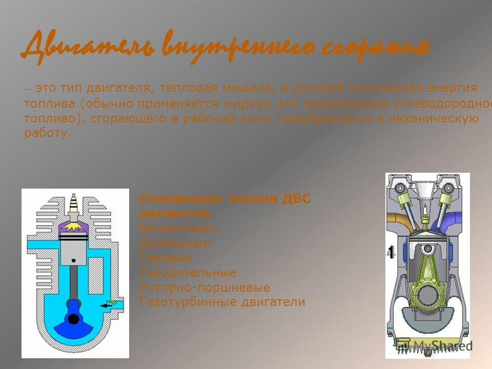 Двигатель внутреннего сгорания это тип двигателя, тепловая машина, в которой химическая энергия топлива (обычно применяется жидкое или газообразное углеводородное топливо), сгорающего в рабочей зоне, преобразуется в механическую работу. Основными тип
