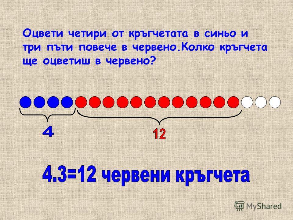 Оцвети четири от кръгчетата в синьо и три пъти повече в червено.Колко кръгчета ще оцветиш в червено?