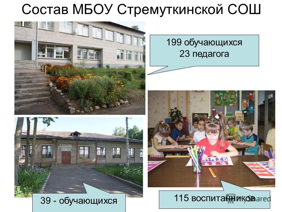 Состав МБОУ Стремуткинской СОШ 199 обучающихся 23 педагога 39 - обучающихся 115 воспитанников