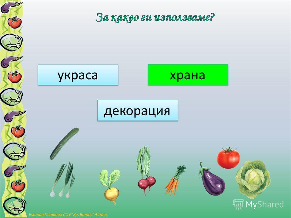 украса декорация храна Емилия Петкова СОУХр. БотевАйтос