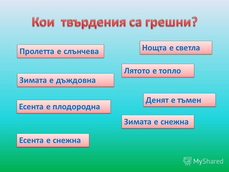 Зимата е дъждовна Лятото е топло Денят е тъмен Нощта е светла Есента е снежна Есента е плодородна Зимата е снежна Пролетта е слънчева