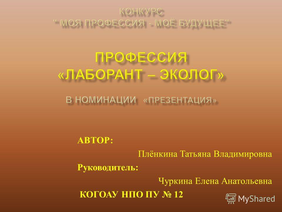 АВТОР : Плёнкина Татьяна Владимировна Руководитель : Чуркина Елена Анатольевна КОГОАУ НПО ПУ 12
