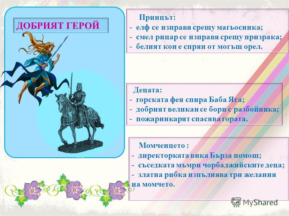 Принцът: - елф се изправя срещу магьосника; - смел рицар се изправя срещу призрака; - белият кон е спрян от могъщ орел. Децата: - горската фея спира Баба Яга; - добрият великан се бори с разбойника; - пожарникарят спасява гората. ДОБРИЯТ ГЕРОЙ Момчен