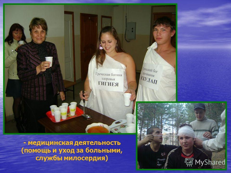 -социальная деятельность (патронирование детских домов, пожилых людей, домов инвалидов)