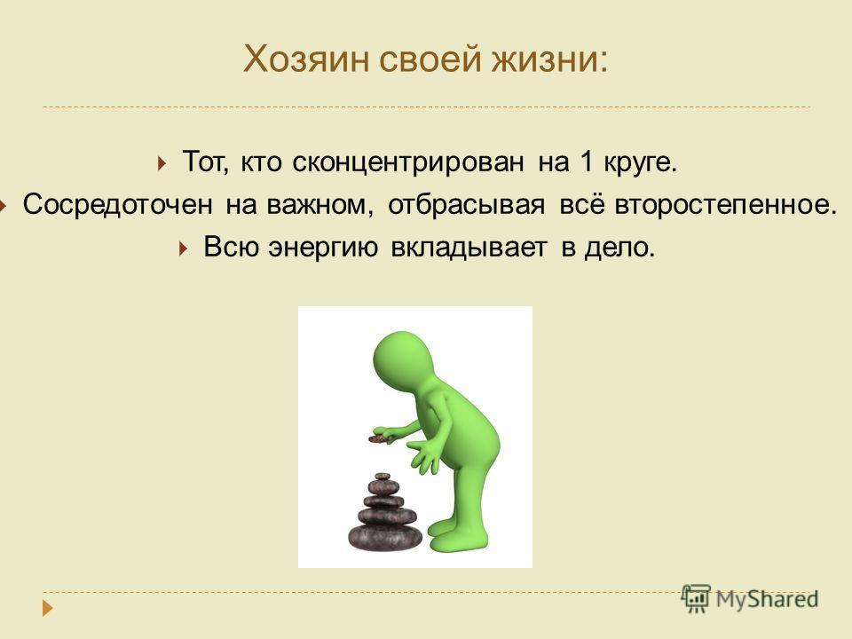 Хозяин своей жизни: Тот, кто сконцентрирован на 1 круге. Сосредоточен на важном, отбрасывая всё второстепенное. Всю энергию вкладывает в дело.