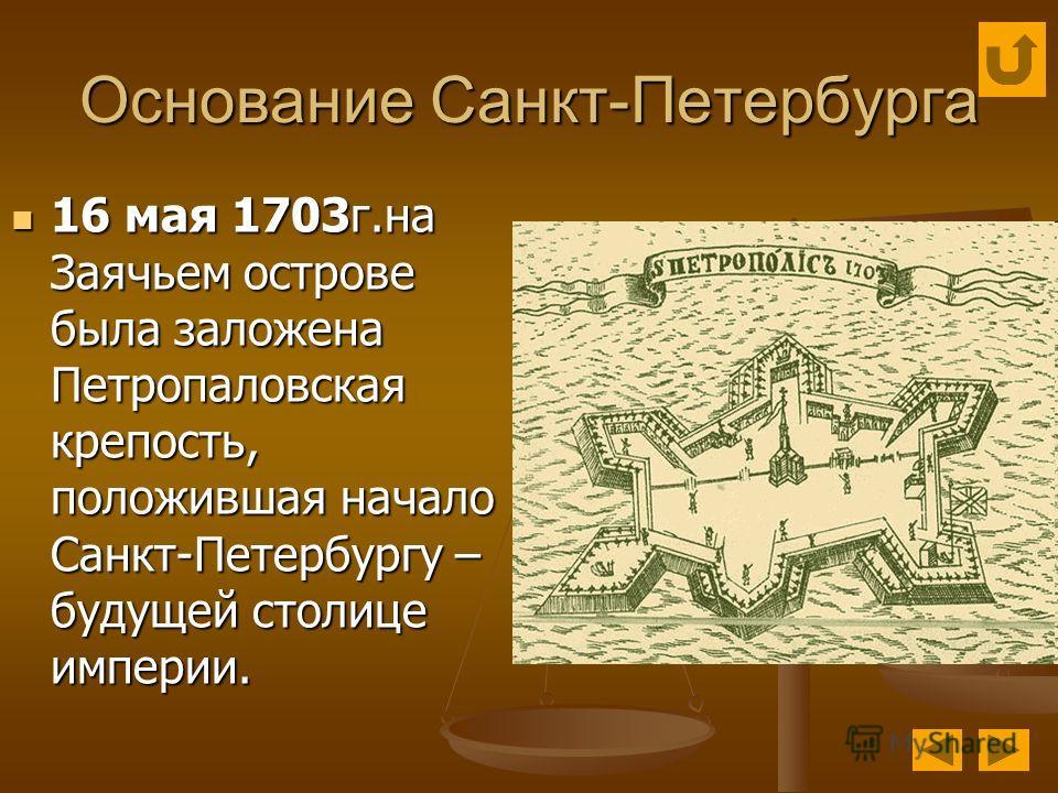 Основание Санкт-Петербурга 16 мая 1703г.на Заячьем острове была заложена Петропаловская крепость, положившая начало Санкт-Петербургу – будущей столице империи. 16 мая 1703г.на Заячьем острове была заложена Петропаловская крепость, положившая начало С