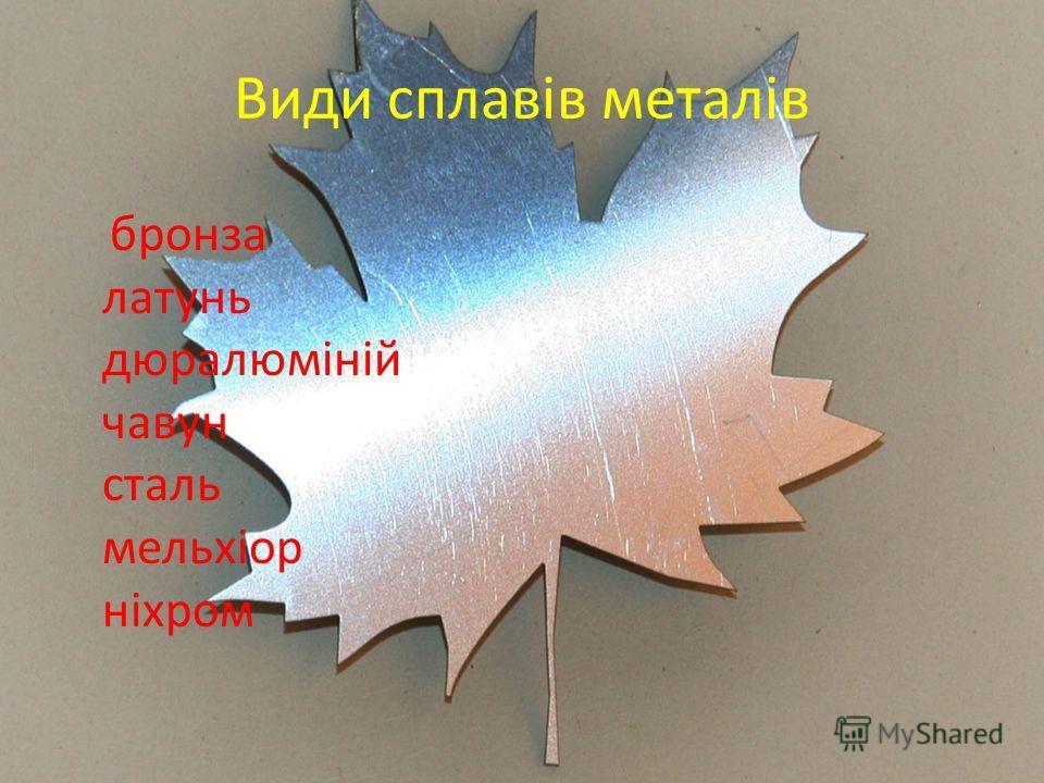 Види сплавів металів бронза латунь дюралюміній чавун сталь мельхіор ніхром