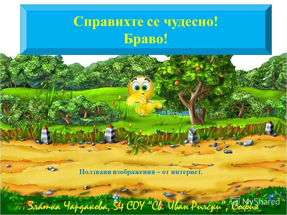 Справихте се чудесно! Браво! Златка Чардакова, 54 СОУ Св. Иван Рилски, София Ползвани изображения – от интернет.
