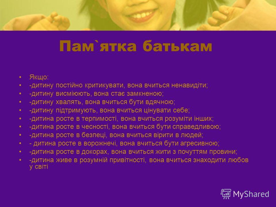 Пам`ятка батькам Якщо: -дитину постійно критикувати, вона вчиться ненавидіти; -дитину висміюють, вона стає замкненою; -дитину хвалять, вона вчиться бути вдячною; -дитину підтримують, вона вчиться цінувати себе; -дитина росте в терпимості, вона вчитьс