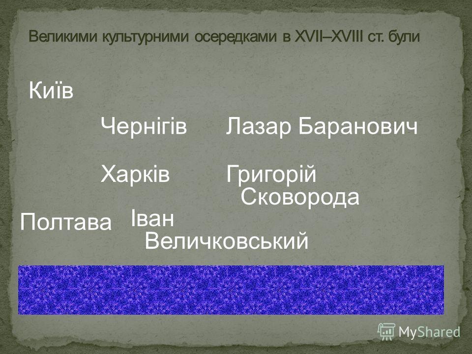 Київ Чернігів Харків Полтава Лазар Баранович Григорій Сковорода Іван Величковський