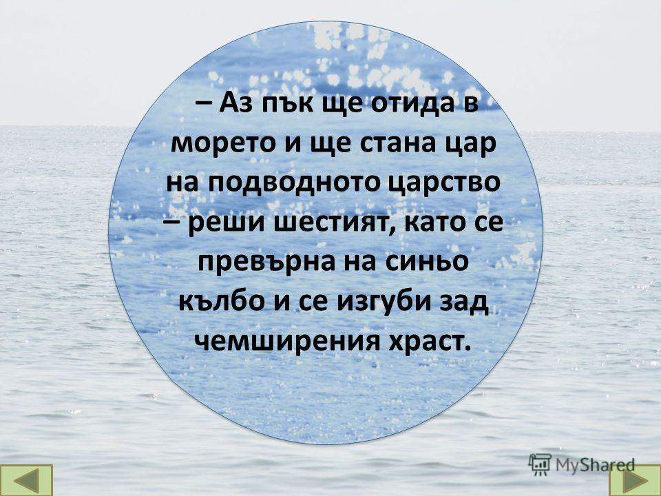– Аз пък ще отида в морето и ще стана цар на подводното царство – реши шестият, като се превърна на синьо кълбо и се изгуби зад чемширения храст.