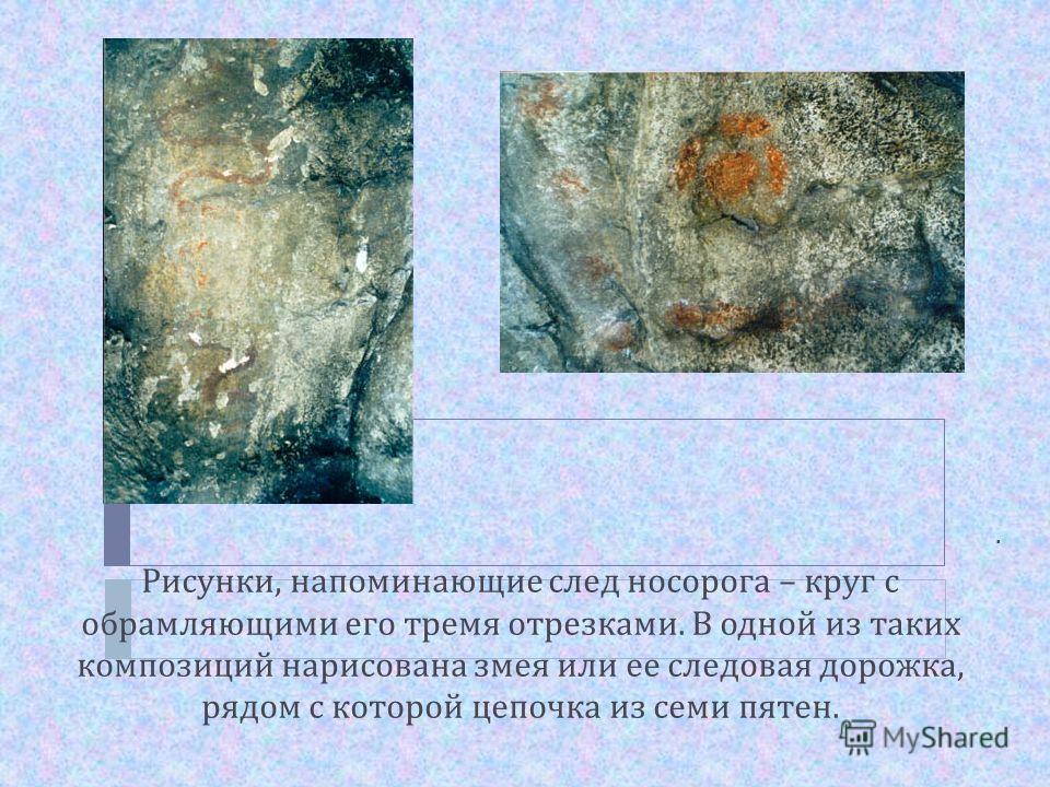 . Рисунки, напоминающие след носорога – круг с обрамляющими его тремя отрезками. В одной из таких композиций нарисована змея или ее следовая дорожка, рядом с которой цепочка из семи пятен.