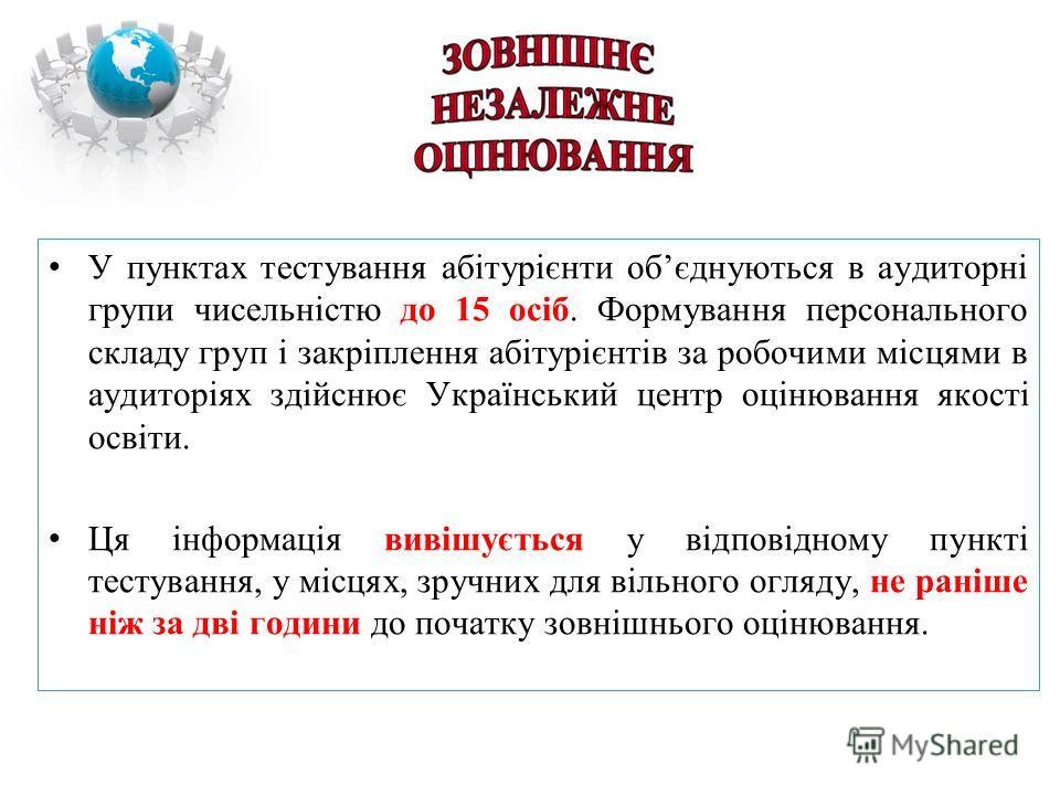 У пунктах тестування абітурієнти обєднуються в аудиторні групи чисельністю до 15 осіб. Формування персонального складу груп і закріплення абітурієнтів за робочими місцями в аудиторіях здійснює Український центр оцінювання якості освіти. Ця інформація