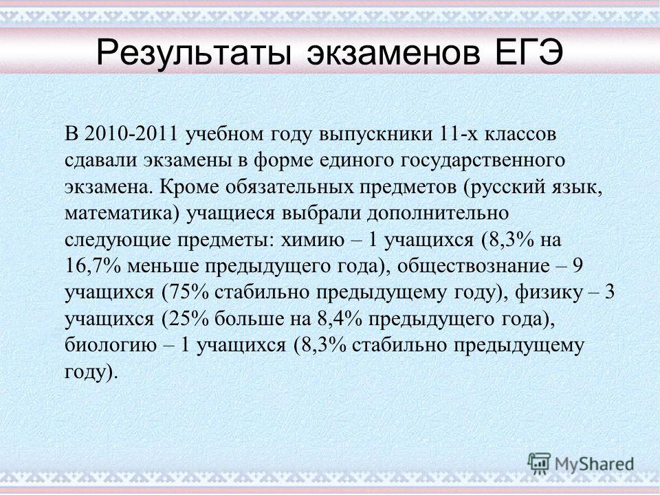 Результаты экзаменов ЕГЭ В 2010-2011 учебном году выпускники 11-х классов сдавали экзамены в форме единого государственного экзамена. Кроме обязательных предметов (русский язык, математика) учащиеся выбрали дополнительно следующие предметы: химию – 1