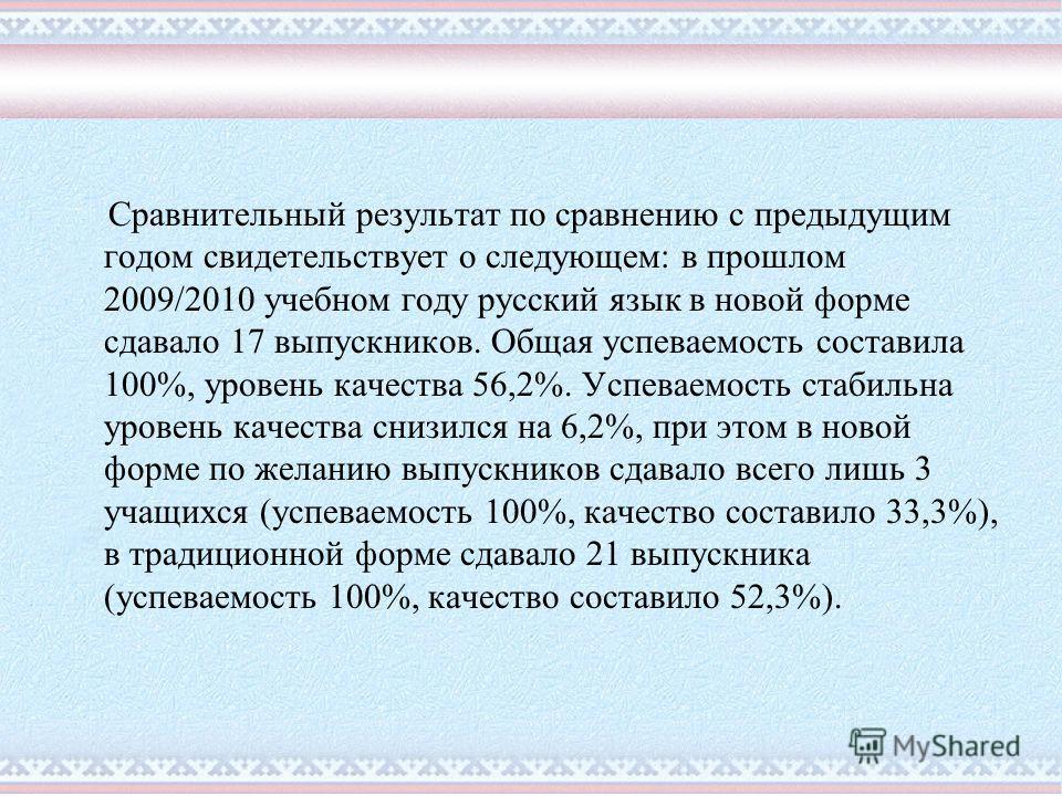 Сравнительный результат по сравнению с предыдущим годом свидетельствует о следующем: в прошлом 2009/2010 учебном году русский язык в новой форме сдавало 17 выпускников. Общая успеваемость составила 100%, уровень качества 56,2%. Успеваемость стабильна