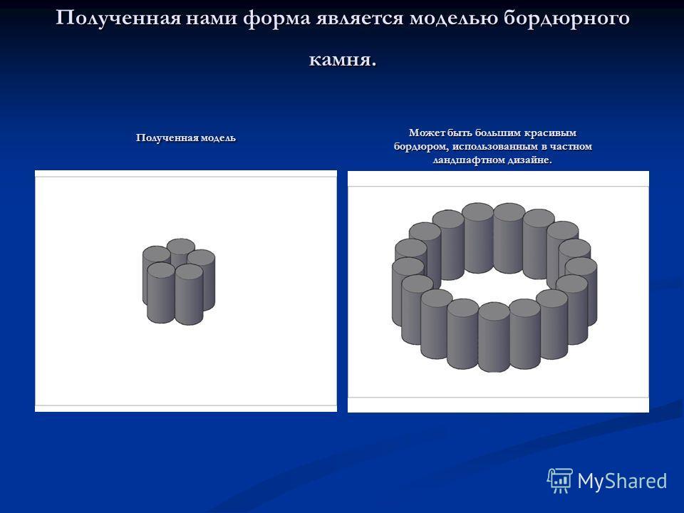 Полученная нами форма является моделью бордюрного камня. Полученная модель Может быть большим красивым бордюром, использованным в частном ландшафтном дизайне.
