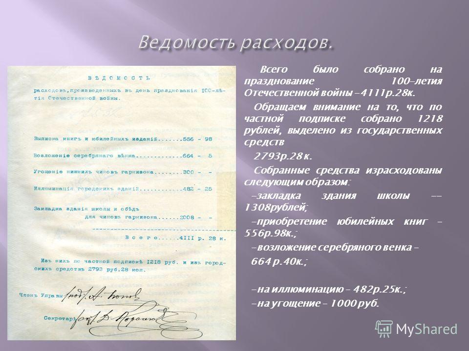 Всего было собрано на празднование 100-летия Отечественной войны -4111р.28к. Обращаем внимание на то, что по частной подписке собрано 1218 рублей, выделено из государственных средств 2793р.28 к. Собранные средства израсходованы следующим образом: -за