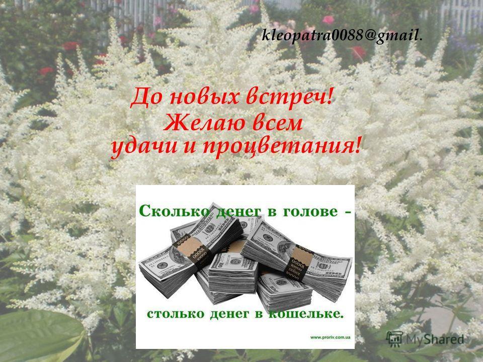 До новых встреч! Желаю всем удачи и процветания! kleopatra0088@gmail.