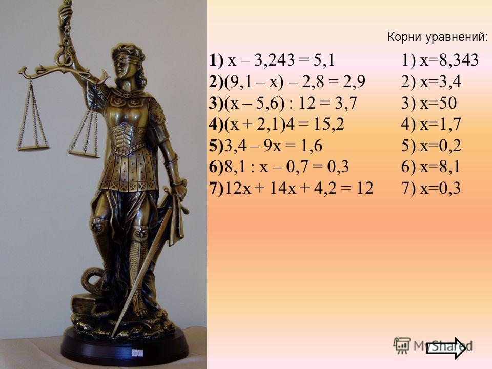 1) х – 3,243 = 5,1 2)(9,1 – х) – 2,8 = 2,9 3)(х – 5,6) : 12 = 3,7 4)(х + 2,1)4 = 15,2 5)3,4 – 9х = 1,6 6)8,1 : х – 0,7 = 0,3 7)12х + 14х + 4,2 = 12 1) х=8,343 2) х=3,4 3) х=50 4) х=1,7 5) х=0,2 6) х=8,1 7) х=0,3 Корни уравнений: