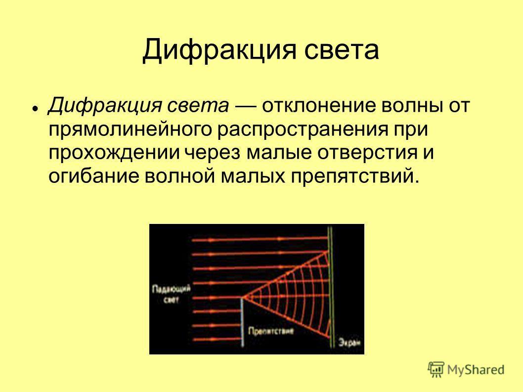 Дифракция света Дифракция света отклонение волны от прямолинейного распространения при прохождении через малые отверстия и огибание волной малых препятствий.