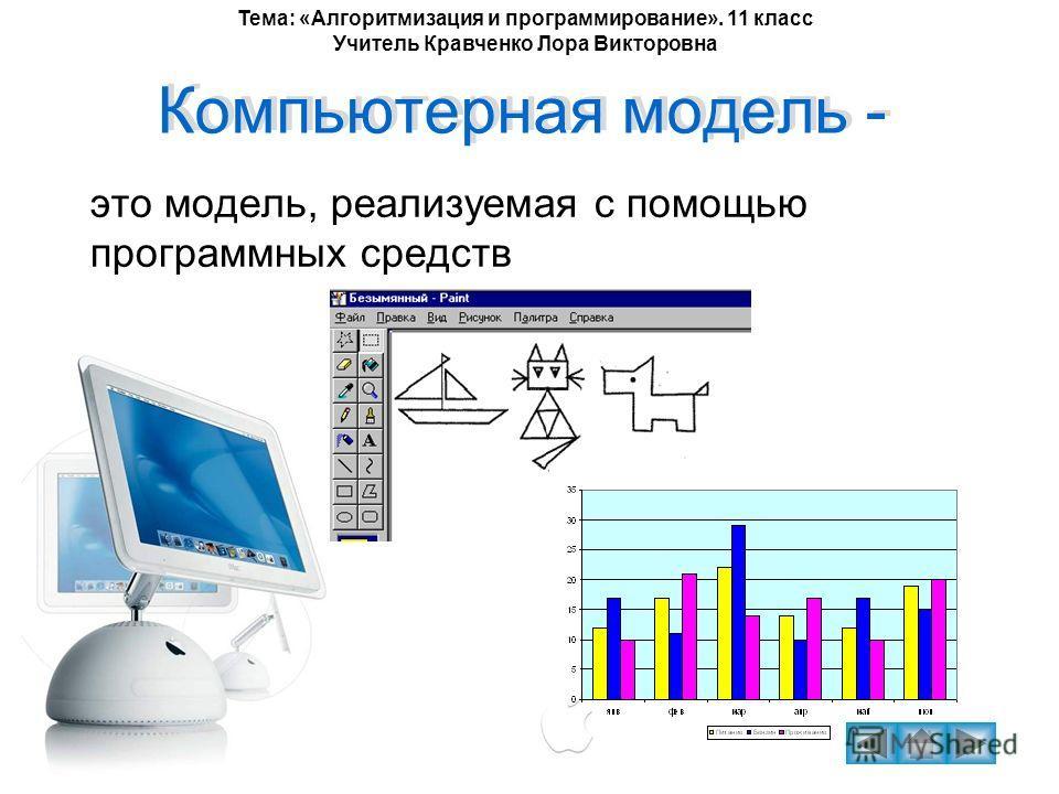 Тема: «Алгоритмизация и программирование». 11 класс Учитель Кравченко Лора Викторовна Компьютерная модель - это модель, реализуемая с помощью программных средств