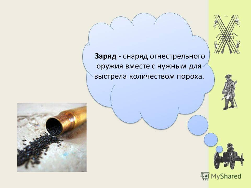 Заряд - снаряд огнестрельного оружия вместе с нужным для выстрела количеством пороха.