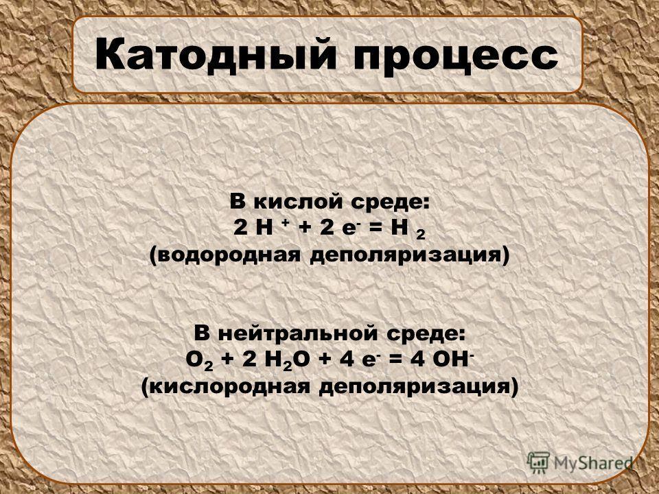 Катодный процесс В кислой среде: 2 Н + + 2 е - = Н 2 (водородная деполяризация) В нейтральной среде: О 2 + 2 Н 2 О + 4 е - = 4 ОН - (кислородная деполяризация)