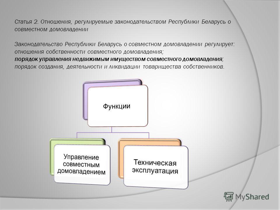 Статья 2. Отношения, регулируемые законодательством Республики Беларусь о совместном домовладении Законодательство Республики Беларусь о совместном домовладении регулирует: отношения собственности совместного домовладения; порядок управления недвижим