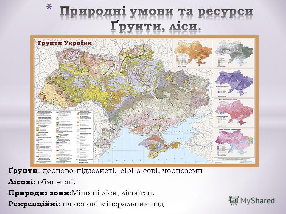 Ґрунти : дерново-підзолисті, сірі-лісові, чорноземи Лісові : обмежені. Природні зони :Мішані ліси, лісостеп. Рекреаційні : на основі мінеральних вод