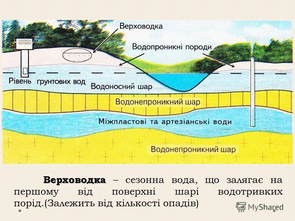 Верховодка Верховодка – сезонна вода, що залягає на першому від поверхні шарі водотривких порід.(Залежить від кількості опадів)