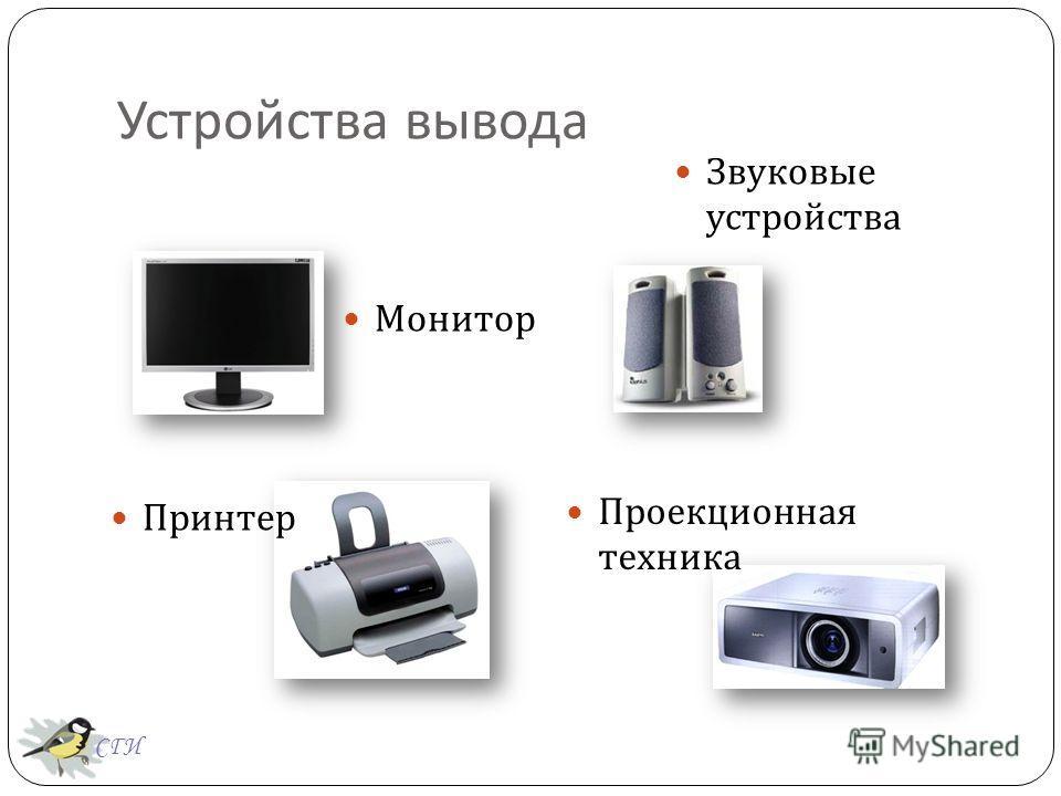 Устройства вывода Монитор Проекционная техника Звуковые устройства Принтер