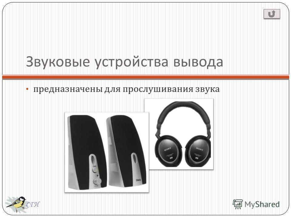 СГИ Звуковые устройства вывода предназначены для прослушивания звука