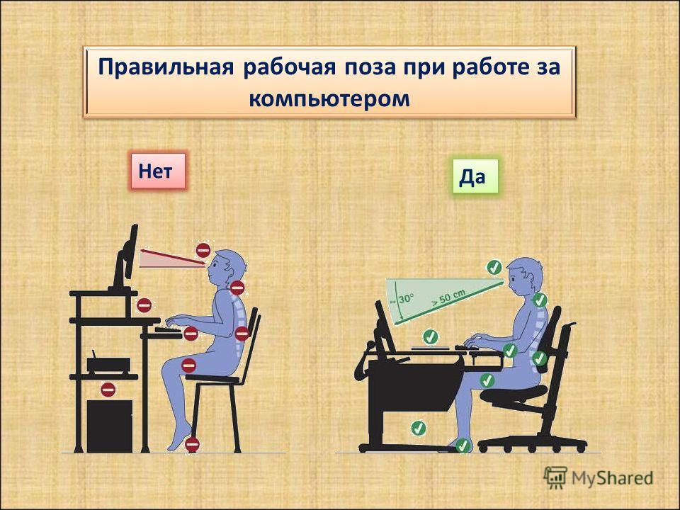 Правильная рабочая поза при работе за компьютером Нет Да